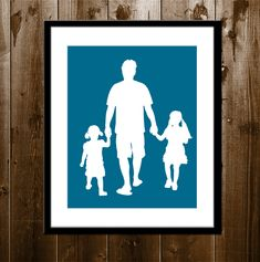 Custom Father Daughter Silhouette Portrait Daddy by iillume, $35.00