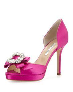 Rosapla Rhinestone Bow d\'Orsay Pump, Shocking Pink by Oscar de la Renta at Neiman Marcus.