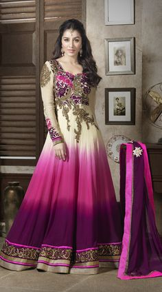 Shraddha Kapoor In Cream And Pink Salwar Kameez SJ110110