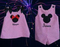 Personalized Twins Minnie and Mickey Birthday Clothes