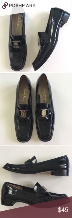Salvatore Ferragamo Black Loafers Heeled Shoes 8 Salvatore Ferragamo Black Heeled Loafers Shoes Rosanna  Size 8 A (narrow)  Black patent Leather Buckle detail  Made in Italy   Perfect for work or dressy look  Please ask any questions  💲Open to Offers💲 🚫No trades🚫 📦Ask About Bundle Discounts💰 Salvatore Ferragamo Shoes Flats & Loafers