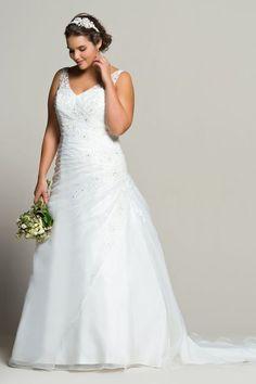Robe de mariée grande taille en organza et satin avec perles, Navabi