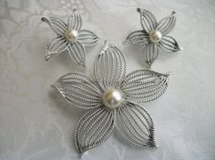 SOLD - Coupon Code: PIN15 - Vintage Sarah Coventry Brooch / Earrings / by PhylmasFabulousFinds, $24.00 - SOLD