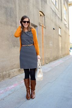 Striped dress and mustard cardigan // Greater than Rubies Blog