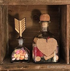 ❤️ easy DIY Valentine's Day decorating ideas, easy holiday decor, conversation hearts, repurposed patron bottle, wine corks, burlap hearts @target #acozyhome