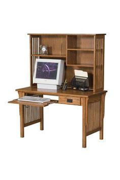 Amish Mission Computer Desk with Open Bookcase Hutch Top Mission style computer desk. Built in choice of wood and finish by the Amish. Choose custom options that best fit your office.
