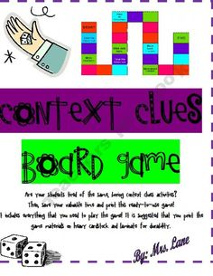 Giveaway - Context Clues Board Game (Great Center or Workstation!) - ends on Reading Strategies, Reading Activities, Reading Skills, Teaching Reading, Guided Reading, Reading Comprehension, Reading Resources, Educational Activities, Teaching Ideas