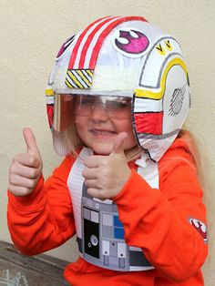 DIY Star Wars X-wing Fighter Pilot helmet. This is SO clever!!