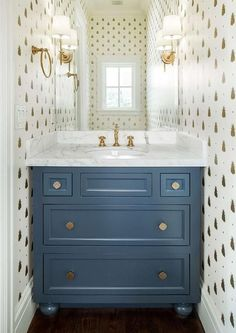 Blue cabinets under sink - sink with storage - Farrow & Ball Bumblebee Wallpaper