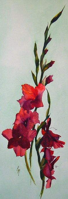 Watercolor. 8 x 24 inches. The light coming through this flower pierces and glows.