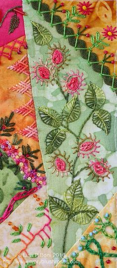 New Ideas crazy quilting embroidery needlework Crazy Quilting, Crazy Quilt Stitches, Crazy Quilt Blocks, Hand Quilting, Hand Embroidery Stitches, Embroidery Applique, Embroidery Patterns, Quilt Patterns, Quilting Templates