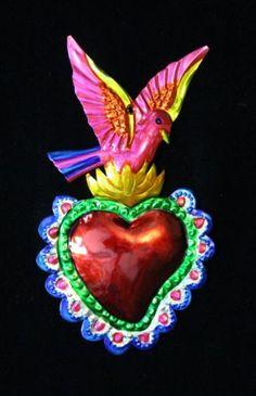 Love-Token-Tin-Milagro-Phoenix-Pink-Bird-over-Heart-Ornament-Mexican-Folk-Art