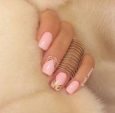 Beautiful nails 2016, Long nails, Pale pink nails, Pink and goldnails, Pink manicure ideas, Plain nails, Ribbon nail art, Shellac nails 2016