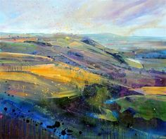 Lorna Holdcroft ~ Recent Paintings: Towards Truleigh Hill, Sussex - Acrylic on canvas ...