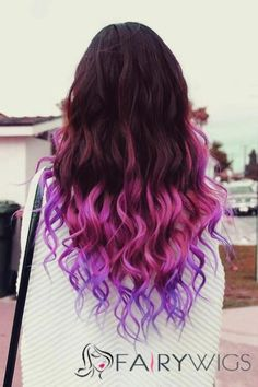 purple ombre hair Hair Styles for Girls Dip Dye Hair, Dye My Hair, Dip Dyed Hair Brown, Ombre Hair Dye, Ombre Bayalage, Ombre Wigs, Blonde Ombre, Hair Tie, Dyed Curly Hair