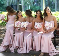 Full length stretch strapless evening or formal gown with small train and zipper closure  #dustypinkbridesmaiddresses #dustypinkbridesmaiddresseslong #modernbridesmaiddresses #fashionablyy