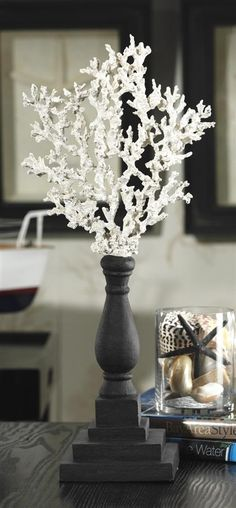 coral in a candle holder elegant idea
