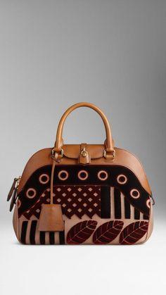 Medium Velvet and Leather Bowling Bag