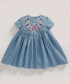 Girls Fashion Embroidery Dress – NEW Arrivals – Mamas & Papas Girls Fashion Embroidery Dress – NEW Arrivals – Mamas & Papas Kids Frocks, Frocks For Girls, Dresses Kids Girl, Little Girl Outfits, Kids Outfits, Kids Dress Wear, Kids Gown, Children Dress, Baby Girl Dress Patterns