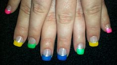 Acrylic tips with painted neon colors! Super colorful!
