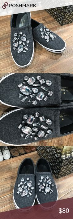 Kate Spade Jeweled Slatter Flannel Slip-On Shoe Kate Spade jeweled slip-on shoes! Super comfy for the on-the-go girl! With just the right amount of bling to help them look fabulous at anything they do. US size 6. kate spade Shoes Sneakers