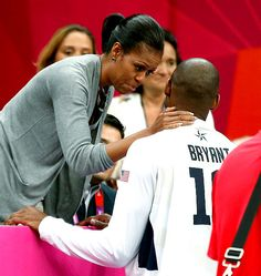Michelle Obama and Kobe Bryant  The President's wife wished the basketball player luck during the U.S. men's game vs. France on July 29.