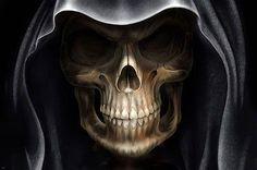 DEMON alien skull poster GOTH SCARY wide cheekbones eyes hood COVERED 24x36