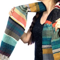 Montauk | Woven Luxury Heirloom Scarf | Handwoven Blue Striped Scarf | Woven Ladies Fashion | Warm and Cozy Statement Gifts for Women | Exclusive previews of new collections available when you join newsletter! hellopidgepidge.com