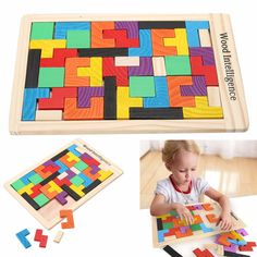 Wooden Puzzles Toy Tangram Brain Teaser Puzzle Cartoon Jigsaw Toys for Children Kids Educational learning education Toys #Affiliate