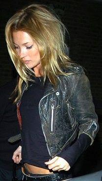 Vintage Black Distressed Leather Jacket | Kate Moss