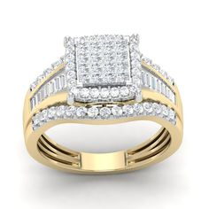 #jewelry 1.02 Ct Princess Cut Real Diamond Square Frame Engagement Ring 10K Yellow Gold please retweet