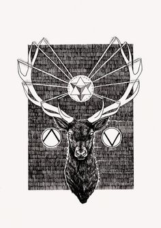 Black Stag by Peter James Carrington #deer #illustration #shapes #geometry #drawing