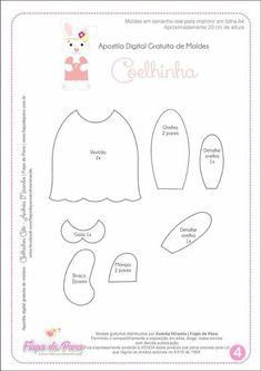 Eu Amo Artesanato: Coelho com molde Felt Animal Patterns, Stuffed Animal Patterns, Felt Crafts, Easter Crafts, How To Make Toys, All Craft, Felt Animals, Bunny Rabbit, Diy