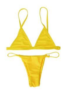 3f3e70db1e868 Free Yellow Sexy Thong Bikini Set 2017 maillot de bain femme Women String  Bikinis Tankini Biquini Bathing Suit Swimwear (No Pad)