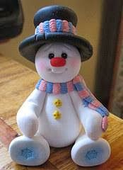 POLYMER CLAY ~ could be done with gumpaste/fondant fansnowman by designsbyginnybaker Polymer Clay Ornaments, Polymer Clay Figures, Fimo Clay, Polymer Clay Projects, Polymer Clay Creations, Crea Fimo, Polymer Clay Christmas, Christmas Decorations, Christmas Ornaments