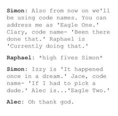 #TMI #Shadowhunters | Code names | Simon Lewis being Simon Lewis