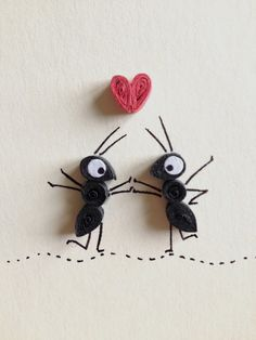 Love Card, Red Heart and Black Ants in Love, Quilling Art, Insects, Blank Card, Paper Goods, Red White and Black