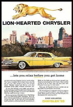 Chrysler New Yorker Lustre Bond Spun Yellow 1959 Photo Ad Golden Lion