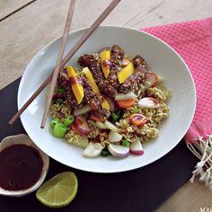 Wok med biffstrimler, nudler og sursøt mangosaus er lett og enkel hverdagsmiddag. Lag ekstra saus og prøv den til kylling og fisk. Sausen er også god kald, som dippsaus.