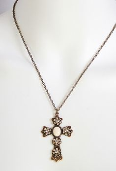 Gold Cross Necklace with ivory Stones by Liz Palacios! LOVE LOVE LOVE!