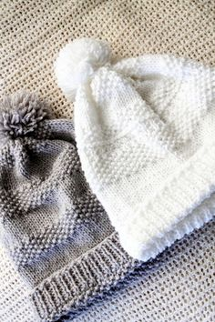 Stricken Pompom Knitted Hat - free pattern @ just white cotton, Baby Hats Knitting, Knitting For Kids, Loom Knitting, Knitting Patterns Free, Knit Patterns, Free Knitting, Free Pattern, Knitted Hats Kids, Knit Or Crochet