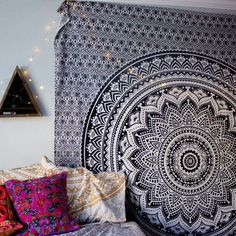 Om Digital Print Black Tapestry Indian Blanket Hippie Wall Decor Twin Size 42 X 30