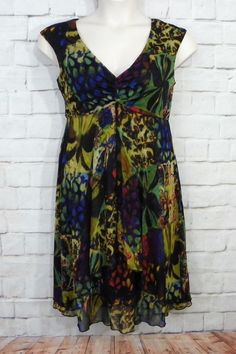 Womens MONROE & MAIN Make It Fresh Mesh Floral Empire Waist Lined Dress Size 10 #MonroeMain #EmpireWaist #CocktailWeartoWorkFestive
