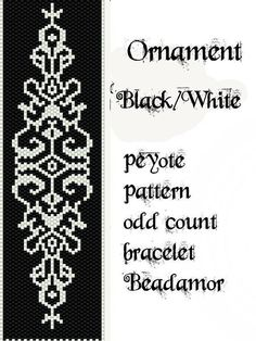 Peyote Pattern for bracelet: Ornament Black and White by Beadamor