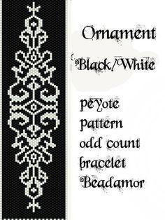 Peyote Pattern for bracelet: Ornament Black and White by Beadamor