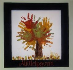 I could bring this out every fall for years to come!  A Little Tipsy: Finger Painting Fall Handprint Tree