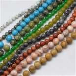 6mm Mixed Color Round Mixed Stone Beads(G-K040-01)