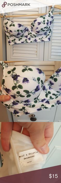 Asos Floral Longline Bikini top Never worn. Gorgeous floral print. Tag says UK size 34F, fits probably closer to a US 34C or D Asos Swim Bikinis