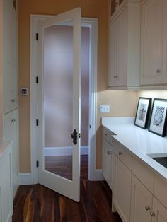 Door into laundry room; hall outside - HGTV Dream Home Laundry Room Pictures on HGTV Laundry Room Doors, Laundry Room Cabinets, Laundry Closet, Laundry Room Organization, Bathroom Doors, Laundry Room Design, Small Laundry, Master Bathroom, Laundry Room Pictures
