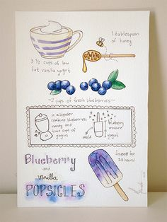 """Blueberry Popsicles"" watercolor illustration by Marina Prado #watercolor #food #illustration"